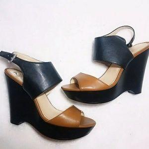 💎Nine West Wedges Sandles Black Tan 7 Heels Shoes